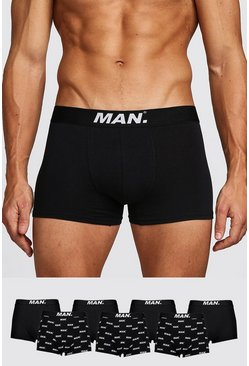 Mens Black 7 Pack MAN Dot Mixed Trunk