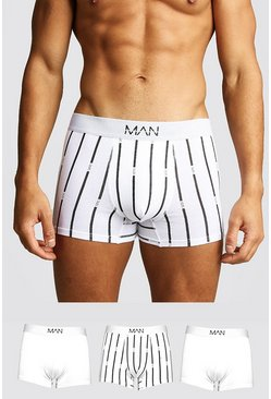 3 Pack MAN Stripe Trunk, White