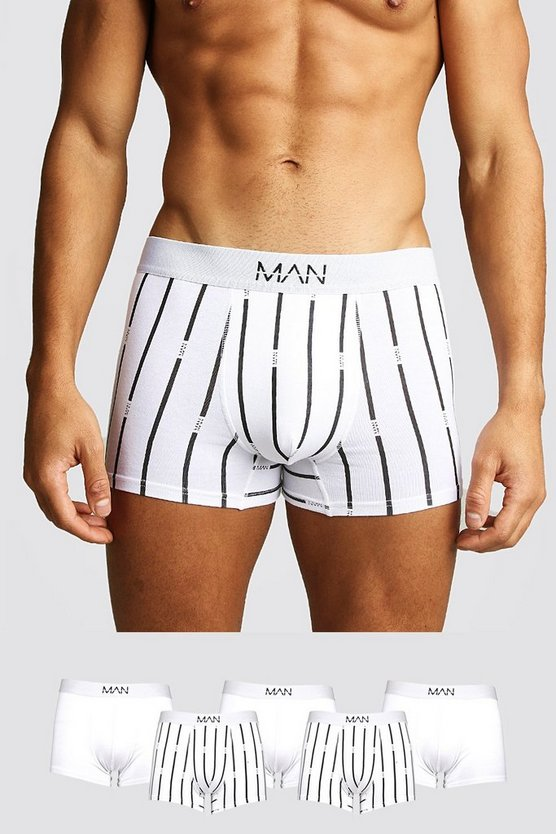 White 5 Pack MAN Stripe Trunk