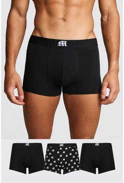 3 Pack Gothic M Mixed Trunk, Black