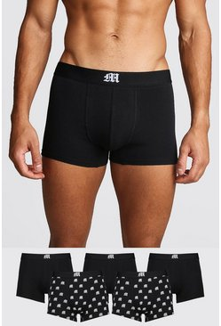 5 Pack Gothic M Mixed Trunk, Black