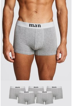 5 Pack Gothic MAN Boxers, Grey marl