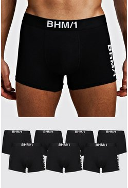 Mens Black 7 Pack BHM Mixed Trunk