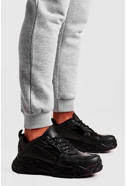 Herr Black Perspex Panel Chunky Trainer