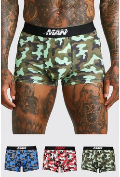 Mens Multi 3 Pack MAN Orbit Mixed Waistband Camo Trunk