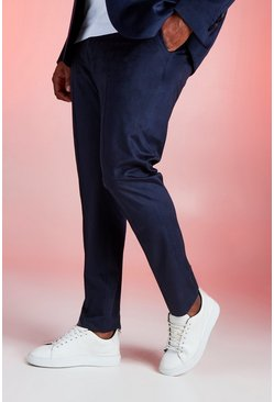 Mens Navy Big And Tall Skinny Fit Velour Trouser