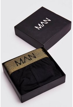 Mens Gold MAN Dash Metallic Waistband Trunk Giftbox