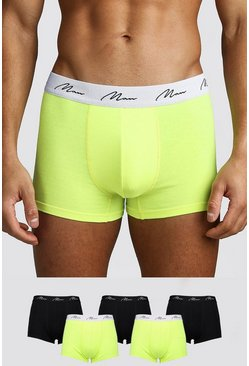 Mens Yellow 5 Pack MAN Script Neon Trunk