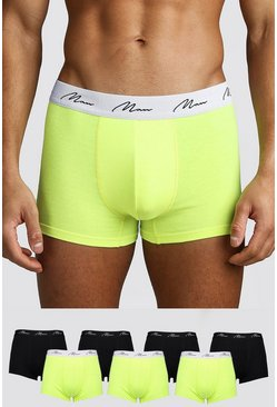 Mens Yellow 7 Pack MAN Script Neon Trunk