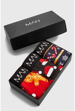 Multi 3 Pack Mixed Christmas Printed Trunk Gift Set