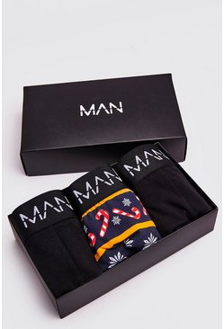 Mens Multi 3 Pack Christmas Printed Mixed Trunk Giftset