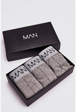 Mens Grey 3 Pack MAN Dash Trunk Giftset