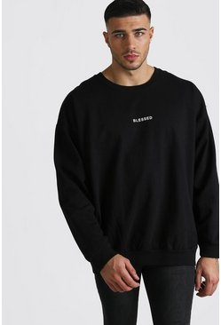 Black Loose Fit Blessed Slogan Sweatshirt
