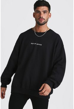Mens Black Loose Fit Out Of Office Slogan Sweatshirt