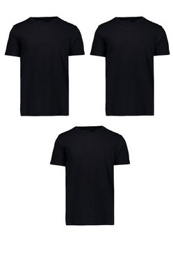 3 Pack Basic Crew Neck T-Shirt In Black