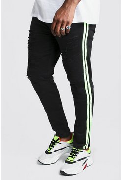 Mens Black Big And Tall Skinny Fit Neon Side Tape Biker Jean