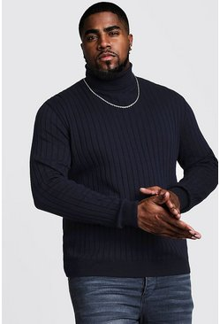 Big And Tall Roll Neck Knitted Jumper, Navy