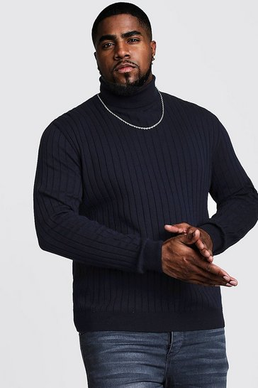 Navy Big And Tall Roll Neck Knitted Jumper