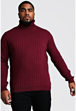 Herr Wine Big And Tall Roll Neck Knitted Jumper