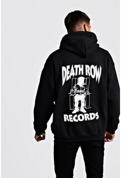 Sweat à capuche officiel Death Row Records avant et arrière, Noir