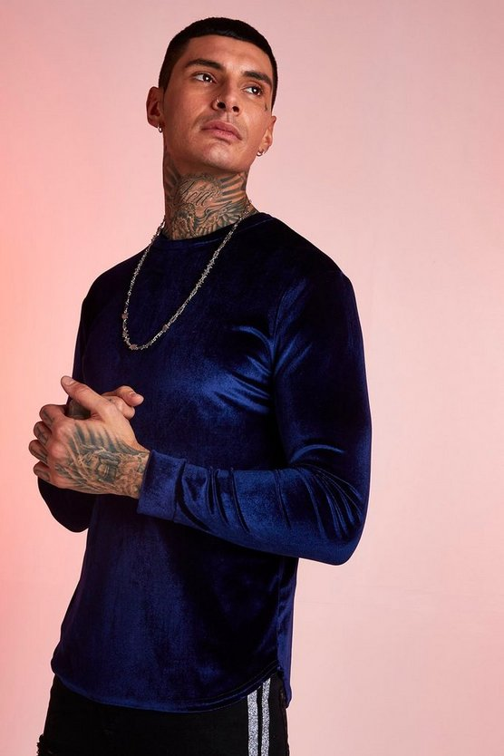 Navy Velour Long Sleeve Muscle Fit T-Shirt