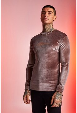 Mens Taupe MAN Signature Velour Long Sleeve Muscle Fit T-Shirt