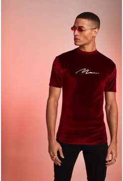 MAN Signature Foil Print Velour Muscle T-Shirt, Burgundy, HOMBRE