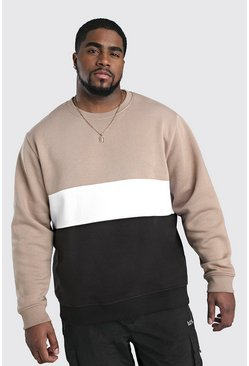 Herr Taupe Big And Tall Colour Block Sweatshirt