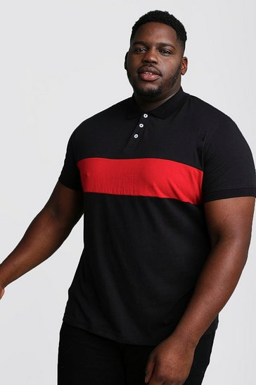 Mens Black Big And Tall Colour Block Jersey Polo