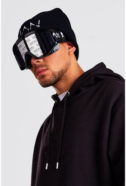 Black MAN Mirror Lens Ski Goggles