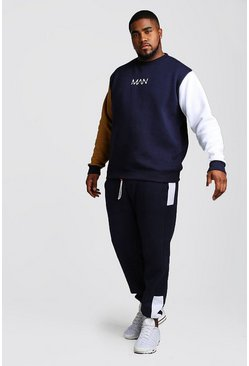 Mens Navy Big And Tall MAN Colour Block Tracksuit