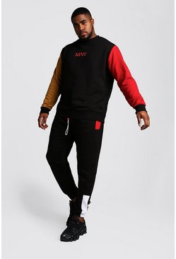 Mens Black Big And Tall MAN Colour Block Tracksuit