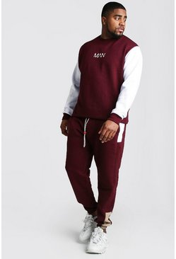 Mens Wine Big And Tall MAN Colour Block Tracksuit