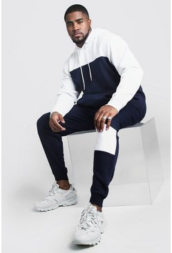 Big And Tall Colour Block Tracksuit, Navy, Uomo