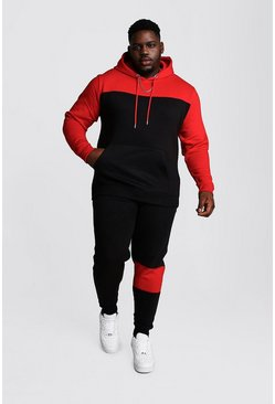 Big And Tall Colour Block Tracksuit, Black, Uomo