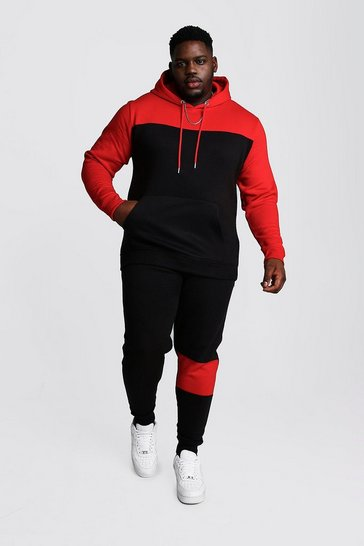 Mens Black Big And Tall Colour Block Tracksuit