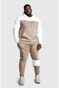 Big And Tall Colour Block Tracksuit, Taupe, Uomo