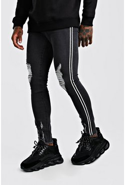 Super Skinny Distressed Jeans With Reflective Tape, Charcoal