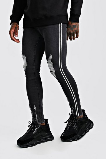 Charcoal Super Skinny Distressed Jeans With Reflective Tape