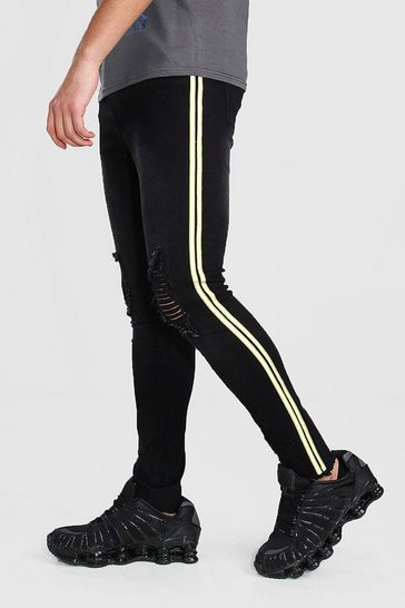 Black Super Skinny Distressed Jeans With Reflective Tape