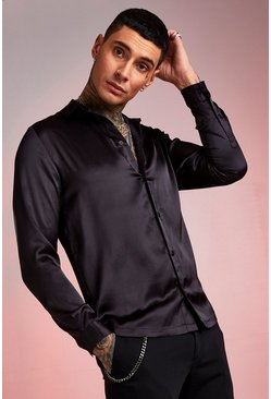 Herr Black Long Sleeve Satin Shirt