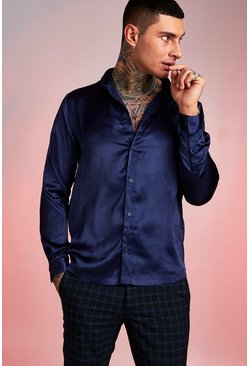 Navy Long Sleeve Satin Shirt