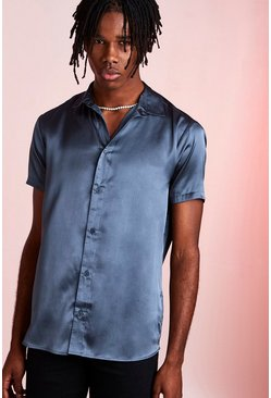 Petrol Short Sleeve Satin Shirt