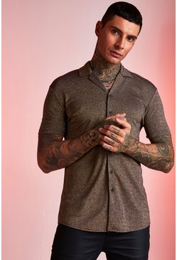 Mens Gold Muscle Fit Metallic Revere Collar Shirt