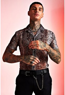 Mens Multi Snake Print Revere Collar Shirt