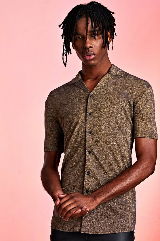 Gold Metallic Revere Collar Shirt