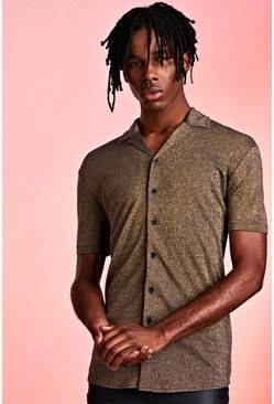 Metallic Revere Collar Shirt, Gold, HOMMES