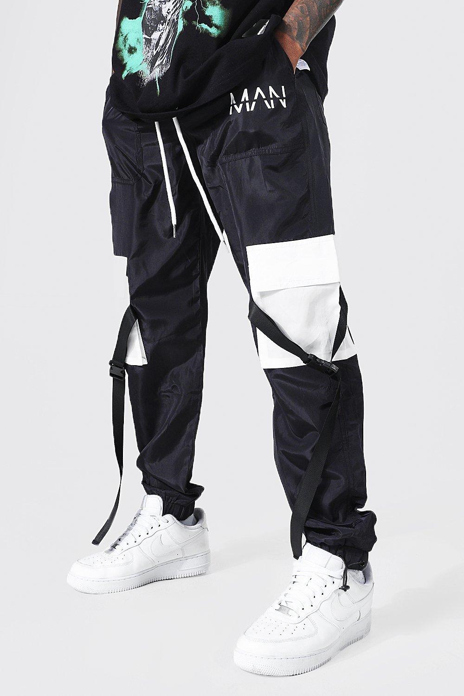 mens black man shell belted colour block cargo trouser, black