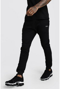 Mens Black Original MAN Slim Fit Joggers
