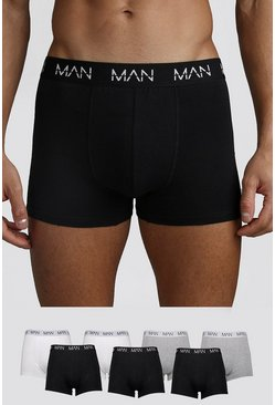 Mens Multi 7 Pack MAN Dash Mixed Mid Length Trunk